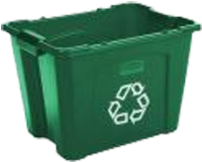 Green Recycle Bin in Village of Riverlea